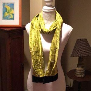 Lime green crushed velvet scarf